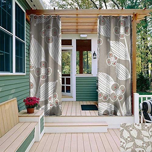 (leinuoyi Floral, Outdoor Curtain Grommet, Fragrance Florets and Leaves with Sketchy Damask Victorian Effects Shabby Design, for Balcony W108 x L108 Inch Beige White)