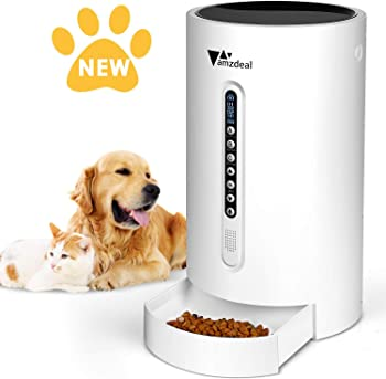 2.amzdeal Automatic Cat Feeder Dog Feeder Cat Food Dispenser with Programmable