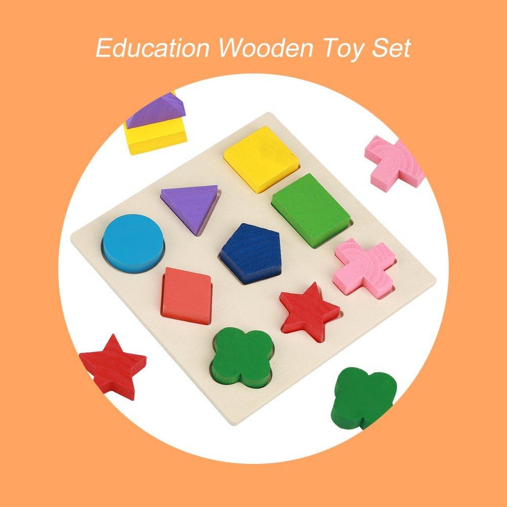 Pack of 2 Kids Wooden Block Matching Game,Wood Board Match Puzzles Geometry Shaped Educational Building Block Toy Preschool Kindergarten Development Toy #1 GLOGLOW