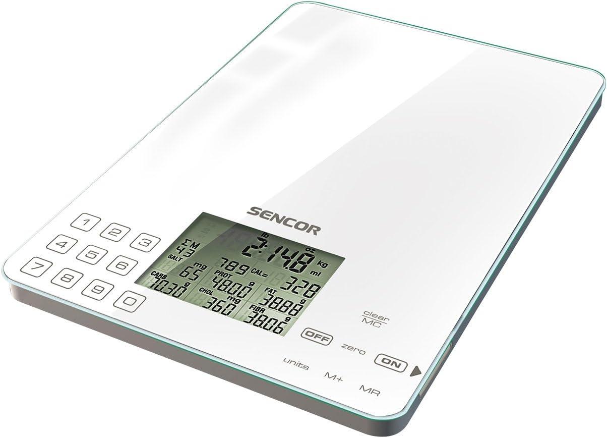 Sencor SKS 6000 - Báscula para Cocina (con 4 sensores para Mayor precisión, diseño Ultrafino: 17 mm de Grosor), Color Blanco