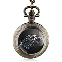 HWCOO Relojes De Bolsillo Game of Thrones Reloj de bolsillo de lobo Reloj de bolsillo de cuarzo Cuadro de pared por mayor