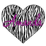 """VWAQ Custom Name Zebra Print Heart Decal Personalized Name Zebra Print Wall Art Decor Custom Name GH2 (14"""" Top to Bottom)"""