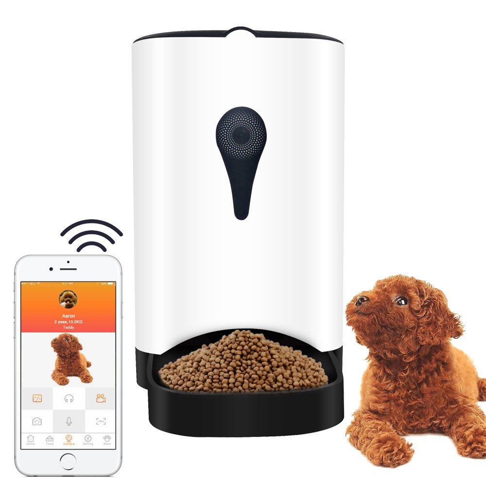 Automatische Smart Pet Feeder Kamera für Hunde & Katzen mit Zwei-Wege-Audio Remote Playback Alarm Erkennung WiFi & Mobile App (Android & iOS)