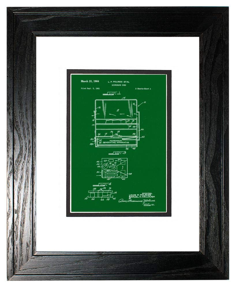 """Microwave Oven Patent Art Green Print in a Black Pine Wood Frame with a Double Mat (20"""" x 24"""") M15868"""