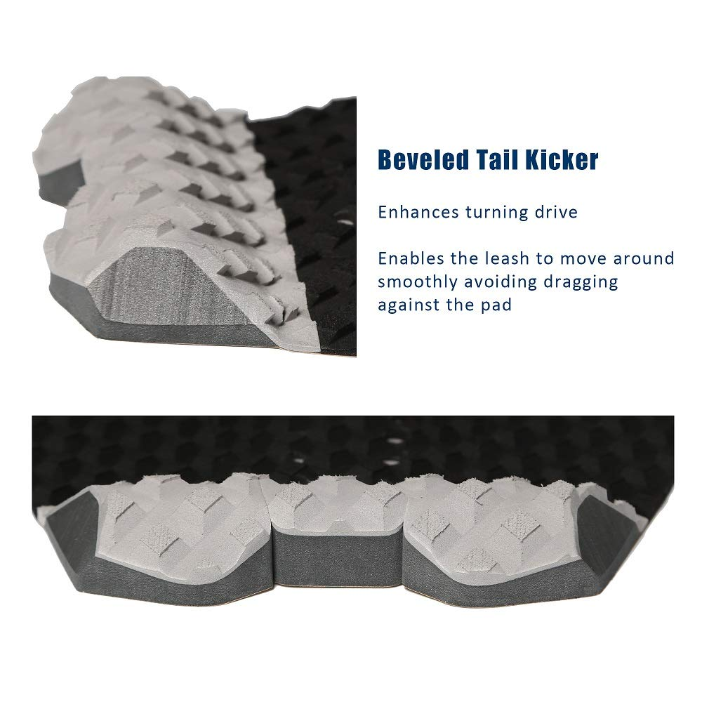 Ocean Broad Surfboard EVA Traction Pad with 3M Adhesive Professional Tail Pad with Arch and Kicker for Short Board Long Board