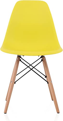 CozyBlock DSW Slope Light Yellow Molded Plastic Dining Side Chair