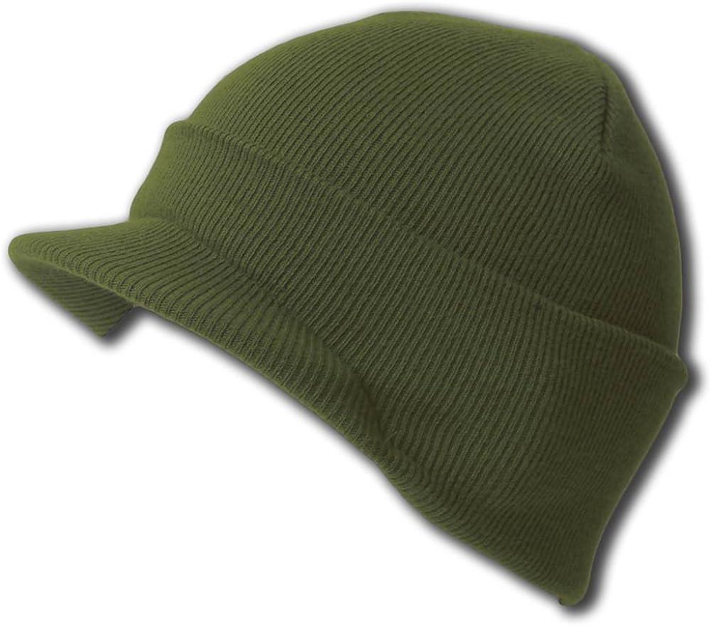 NEW CUFF DARK OLIVE GREEN Beanie Visor Skull Cap HAT