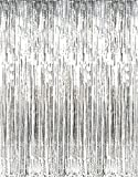 GIFTEXPRESS Metalic Silver Fringe Curtain set of 2/Photo Backdrop/hanging Tinsel/Hanging curtain/foil fringe window cutain/doorway curtain/entrance curtain