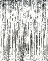 GIFTEXPRESS? Pack of 2, Metallic Silver Foil Fringe Curtain/Photo Backdrop/hanging Tinsel/Hanging curtain/foil fringe window cutain/doorway curta