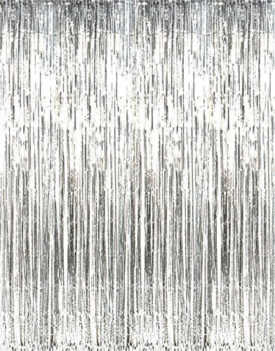GIFTEXPRESS Metalic Silver Fringe Curtain set of 2/Photo Backdrop/hanging Tinsel/Hanging curtain/foil fringe window cutain/doorway curtain/entrance curtain (Silver Backdrop)