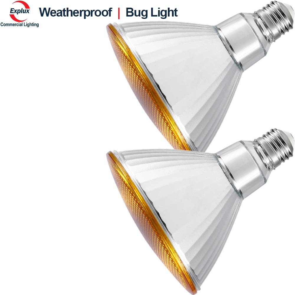 Explux Classic Full-Glass PAR38 Yellow LED Bug Light Bulbs, Dimmable, Indoor/Outdoor, 14W (120W Equivalent), 2-Pack