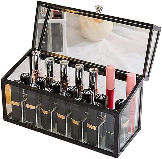 LIYANSBH - Caja de Reloj de Pulsera con Soporte para pintalabios y Brillo de Labios de Cristal Transparente, Organizador de Maquillaje con divisores extraíbles de 21 Espacios: Amazon.es: Hogar