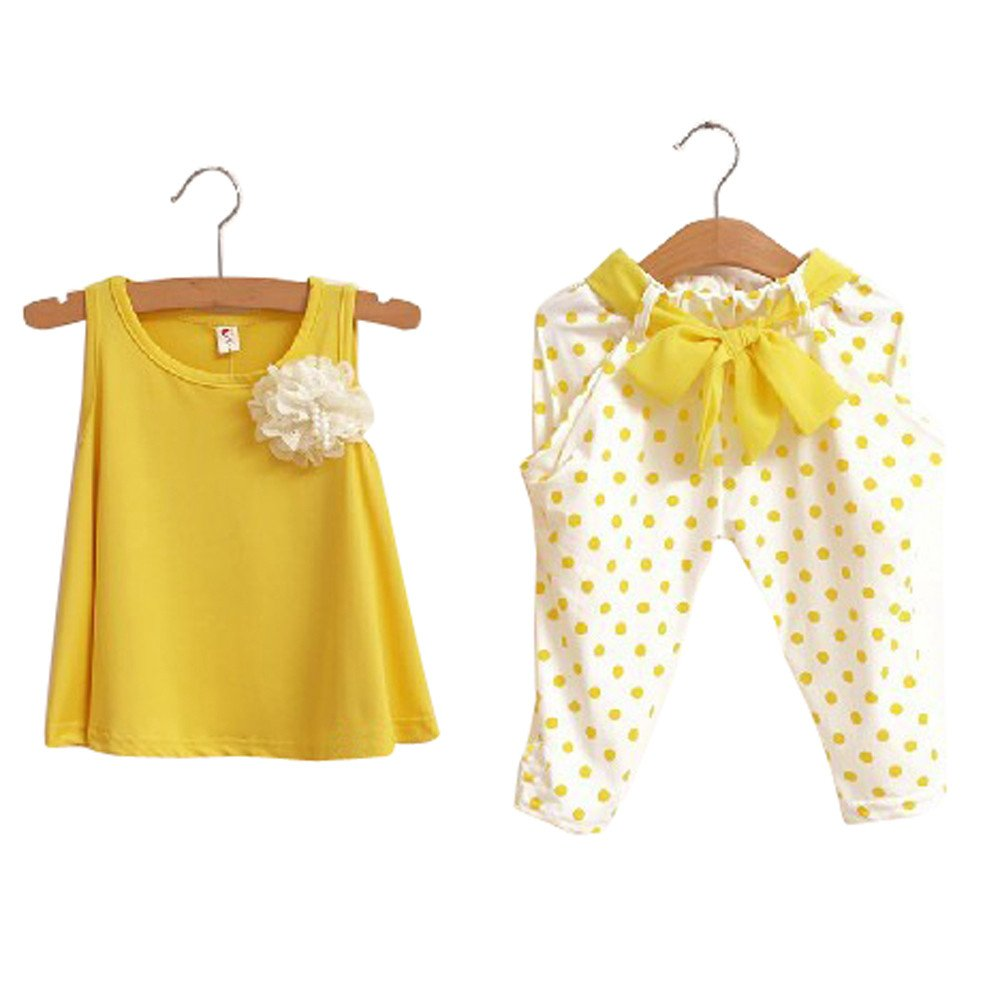 Dsood Baby Rompers Boy,Baby Girl Dot Flower Set Toddler Vest Clothing Yellow/100,Girls' Clothing, 2019,Yellow
