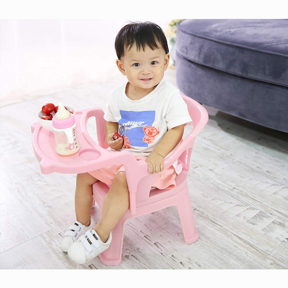 Swttppy Kids Baby Eat Multifunction Dining Chair High Chair Feeding Chair Portable Folding Dining seat Stool Children Eating Dinner Table Table and Chair (Color : Pink) by Swttppy