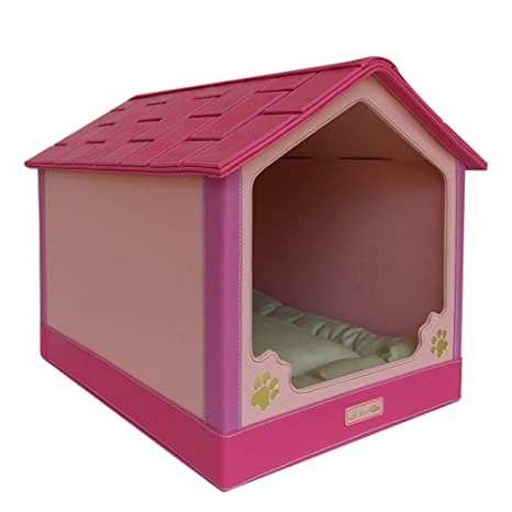 TOPQSC - Caseta de plástico tallada para mascotas, casa de mascotas, hamaca casa de