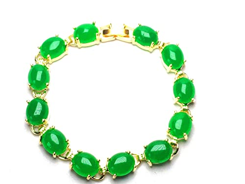 e236944106 yigedan Womens 18KGP Gold Plated Egg-Shaped Green Jade Natural Stone  Bracelet