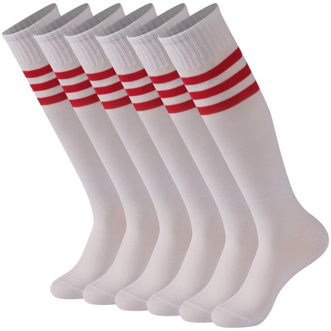 Calbom Men's Women's Triple Stripe Over the Knee Soccer Team Socks Long Fashion Tube Football Socks 6 Pack White Casual Dress by Calbom