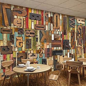 Amazhen 3d Wallpaper Murals Vintage Wood Board English Letters Bar