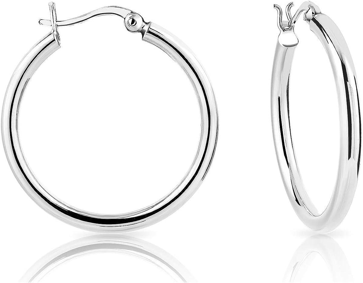DTP Silver - Pendientes de Aro de mujer - Creoles - Plata 925 - Espesor 3 mm - Diámetro 20, 30, 40, 50, 60 mm
