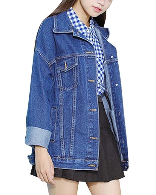 Chaquetas Jacket De Mezclilla Slim Fit Manga Larga Abrigo Denim Jackets Cazadora Vaquera Para Mujer: Amazon.es: Ropa y accesorios