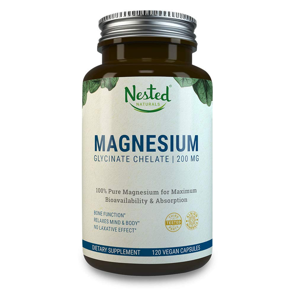 MAGNESIUM GLYCINATE CHELATE 200mg | 120 Non-Laxative, High Absorption Vegan  Capsules