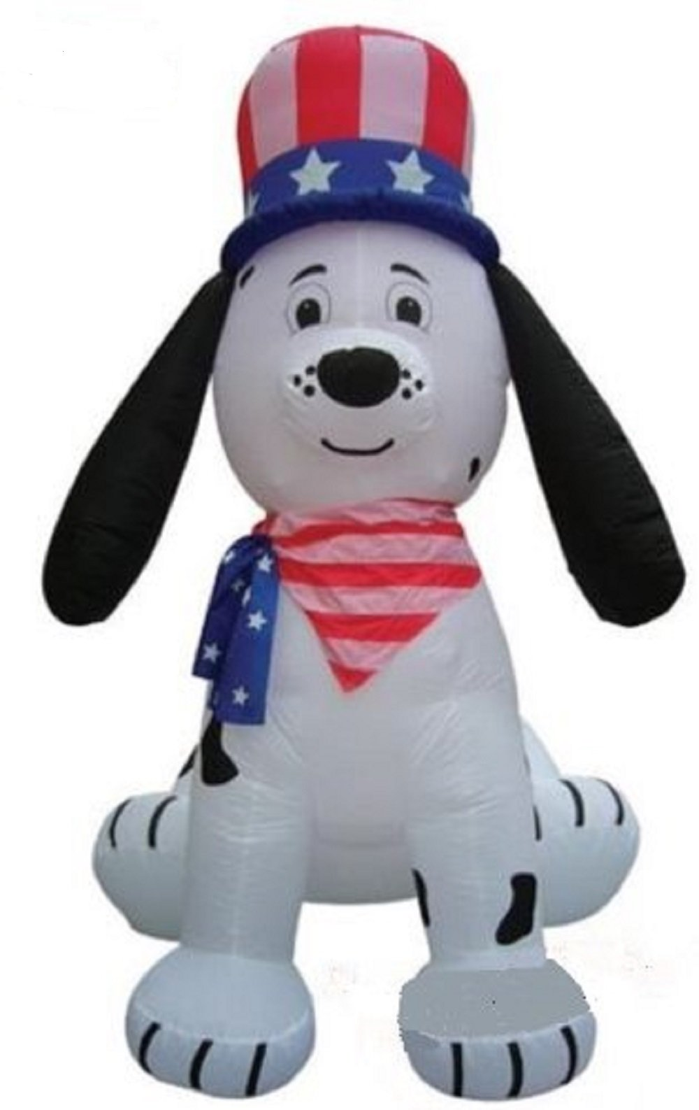 Gemmy Airblown Inflatable Patriotic Dalmatian Puppy Dog Wearing an American Flag Neckerchief and Hat, 8-foot Tall
