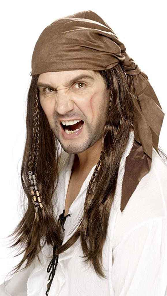 Smiffy's Men's Buccanneer Pirate Wig, Black/Brown, One Size RH Smith & Sons LTD 30272