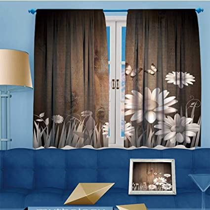SCOCICI1588 Blackout Burgundy Curtains Antique Old Planks American Style  Western Rustic Wooden And White Daisies,