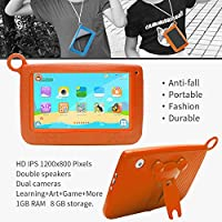 NPOLE Kids Tablets Android 7 Inch 1280x800 IPS Display with Parental Control Software - iWawa Wifi Camera 3D Game HD Video Supported Orange by NPOLE