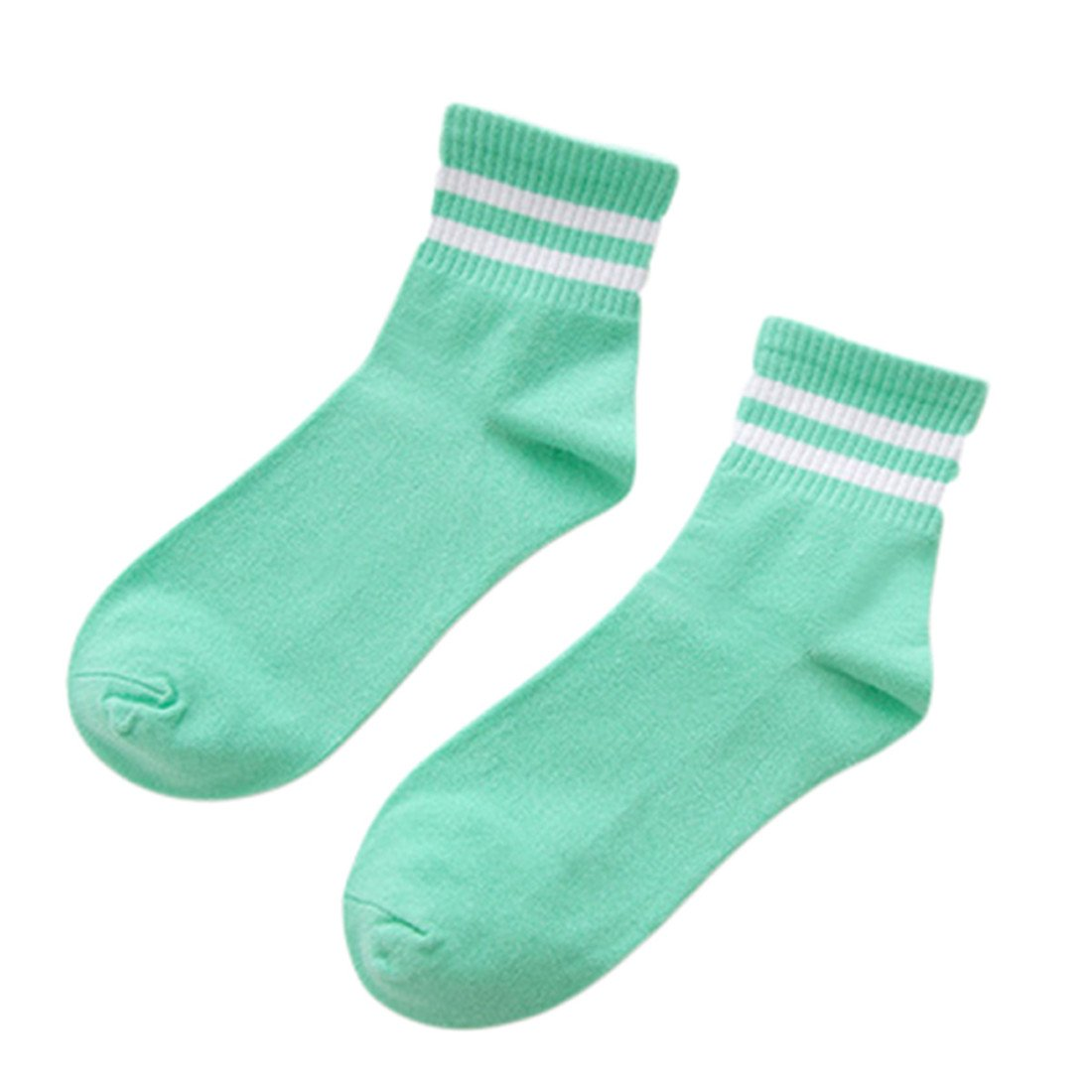 Yesiidor Stripe Cotton Crew Socks Fashion Casual Soft College Style Stretchy Novelty Ankle Socks