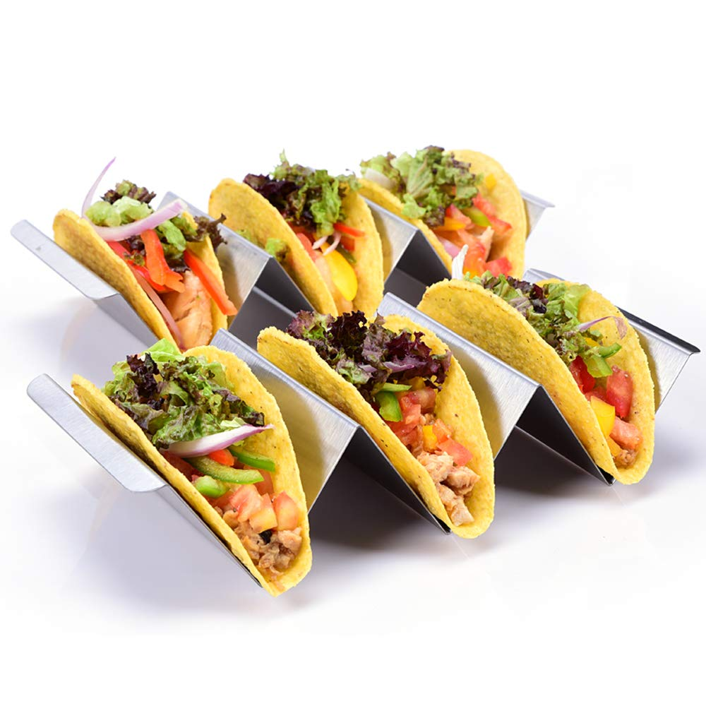 CMYK Taco Holders, 2 Pack Stylish Stainless Steel Taco Holder Stand with a Stainless Steel Handle, Keep Your Hard or Soft Taco Upright, Oven, Dishwasher and Grill Safe for Your Taco Tuseday Night