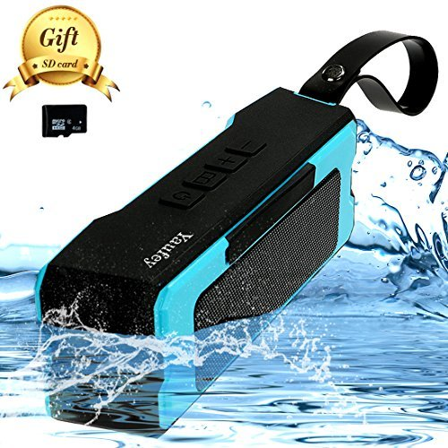 (Portable Outdoor,Shower Bluetooth Speaker with 12 Hour Rechargeable Battery Life,A Memory Card As A Gift,IP65 Waterproof,10M,Dust proof,Drop Resistance ,Pairs with All Bluetooth Devices (Blue))