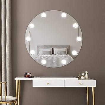 Espejo De Pared con BañO Iluminado por LED Espejo De BañO Redondo Estilo Moderno De Hollywood
