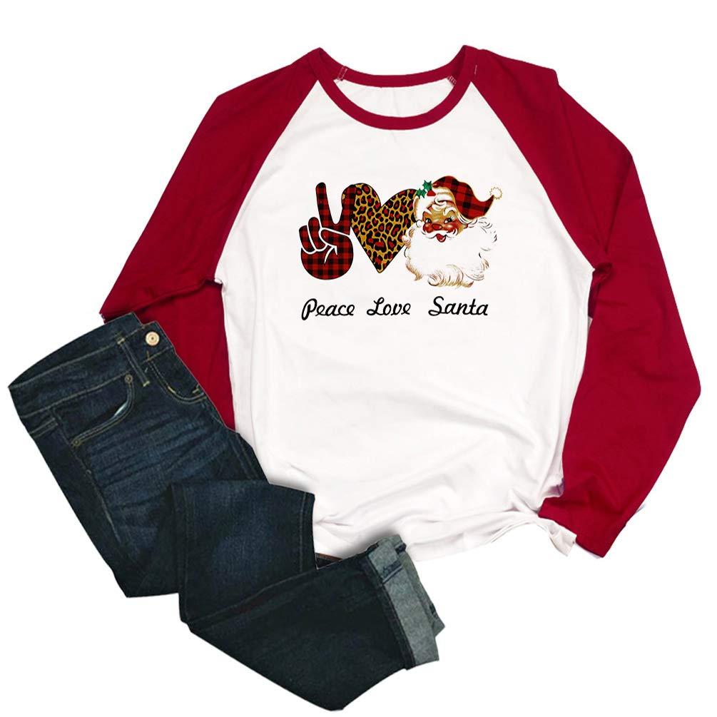 Peace Love Santa Graphic Shirt Women Christmas Funny Cute Leopard Heart Buffalo Plaid Print Raglan Long Sleeve Splicing Top