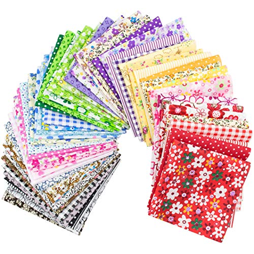 """Foraineam 300Pcs 4"""" x 4"""" (10cm x 10cm) 60 Designs Assorted Cotton Craft Fabric Bundle Printed Patchwork Squares for DIY Sewing Quilting Scrapbooking"""