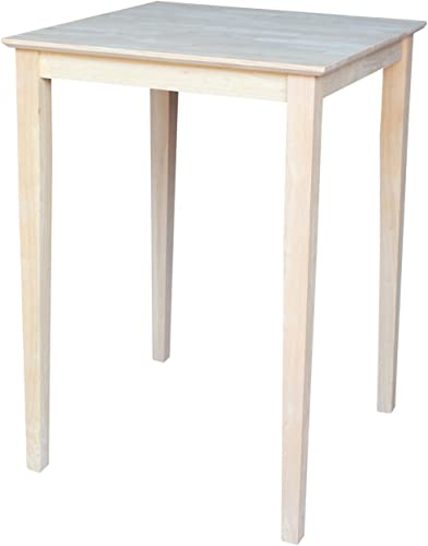 International Concepts Square Bar Height Solid Wood Top Table with Shaker Legs, 30-Inch
