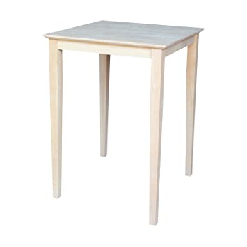 International Concepts Square Bar Height Solid Wood Top Table With Shaker  Legs, 30 Inch
