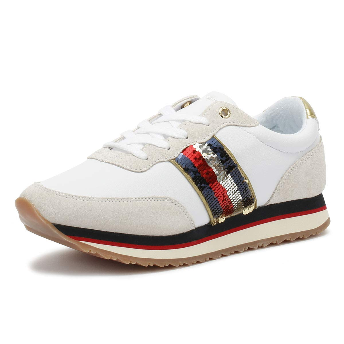b03502f97 Amazon.com | Tommy Hilfiger Sequins Retro Womens Fashion Trainers in White  - 41 EU | Fashion Sneakers
