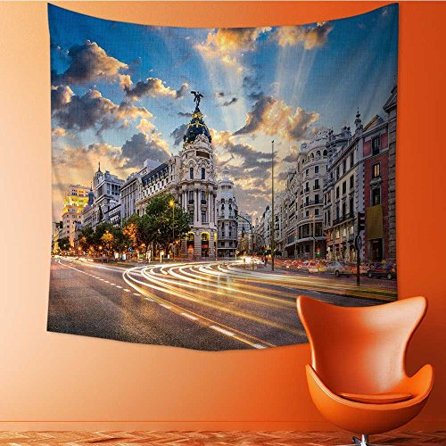 Muyindo Decorate Tapestry Wall Hanging,Madrid Spain on Gran Via Bedroom Living Room Dorm Tapestries/59W x 59L INCH by Muyindo