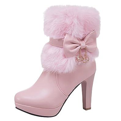 218d4ffe720fe5 YE Damen Plateau Ankle Boots Blockabsatz Stiefeletten mit Schleife und Fell  Reißverschluss 10cm Absatz Elegant Warm