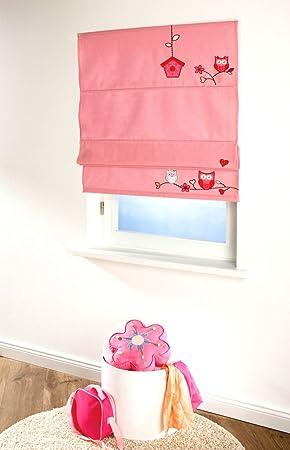 4UNIQ Rollo Raffrollo Sonnenschutz für das Kinderzimmer Eule pink