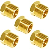 """Joywayus 1/4"""" NPT Male Pipe Plug Outer Hex Thread Socket Plug Brass Fitting(Pack of 5)"""