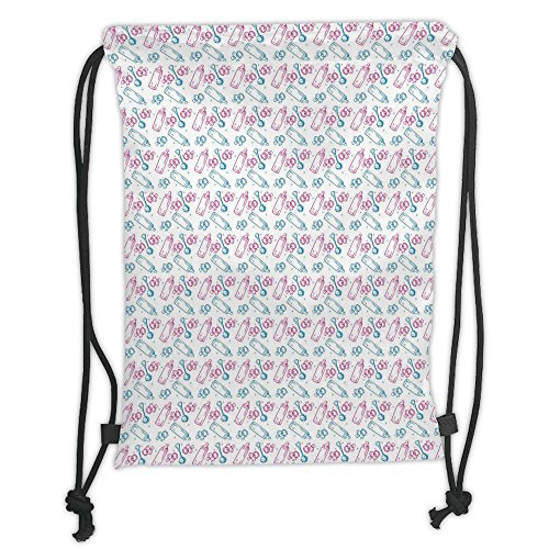 tring Sack Backpacks Bags,Baby,Milk Bottles Pacifiers Rattles Pattern Hand Drawn Baby Toys Themed Ornate Image,Pink Blue White Soft Satin,5 Liter Capacity,Adjustable String Closure ()