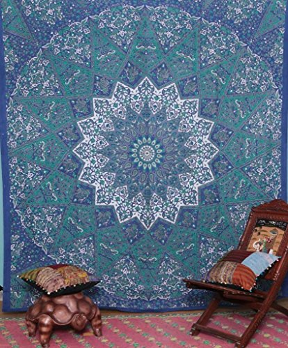 Kaleidoscopic-Star-Hippie-Bohemian Intricate-Floral-Design Indian-Wall-Hanging-Bedspread Mandala-Tapestry (Hippie Tattoo Designs)