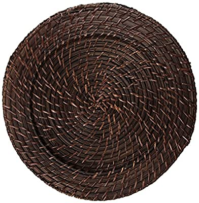 Jay Imports Set OF 4 Round Rattan Charger Brick Brown Color