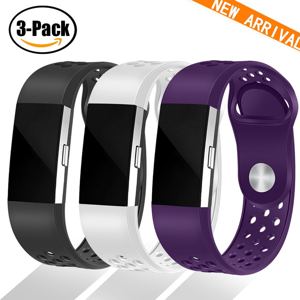 Geak Fitbit Charge 2バンド、Special Edition交換用バンドfor Fitbit charge2 Large Small 12異なる色 B0791B78YY Small|#03 Sports-Black Purple White #03 Sports-Black Purple White Small
