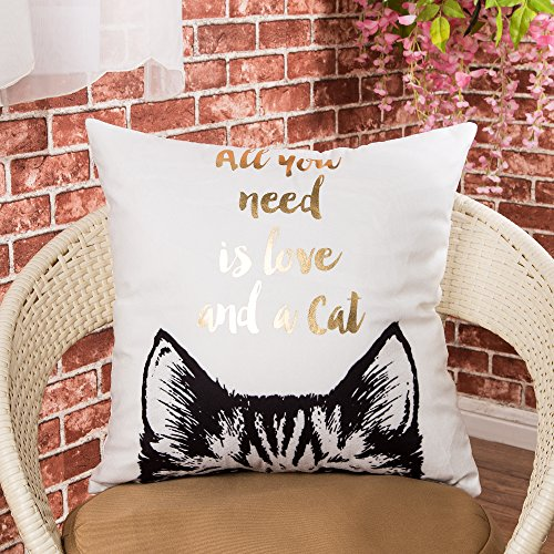 """Fjfz Gold Foil Print All You Need is Love and a Cat, Cute Cat Kitty Kitten lover Inspirational Quote Cotton Linen Home Decorative Throw Pillow Case Cushion Cover for Sofa Couch, 18"""" x 18"""""""
