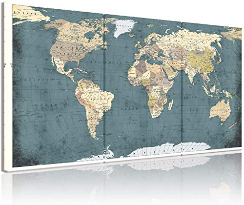 Best canvas wall art: Welmeco Large 3 Pieces Vintage Blue Map of The World Canvas Prints Retro Detailed Push Pins World Travel Map Canvas Art Living Room Office Decoration Rustic