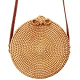 Round Rattan Bag - Boho Blogger Purse with Bow Clasp