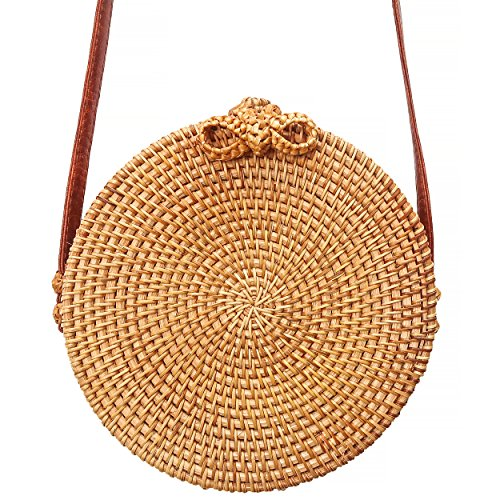 Rattan Purse Handle (Round Rattan Bag - Boho Blogger Purse with Bow Clasp)
